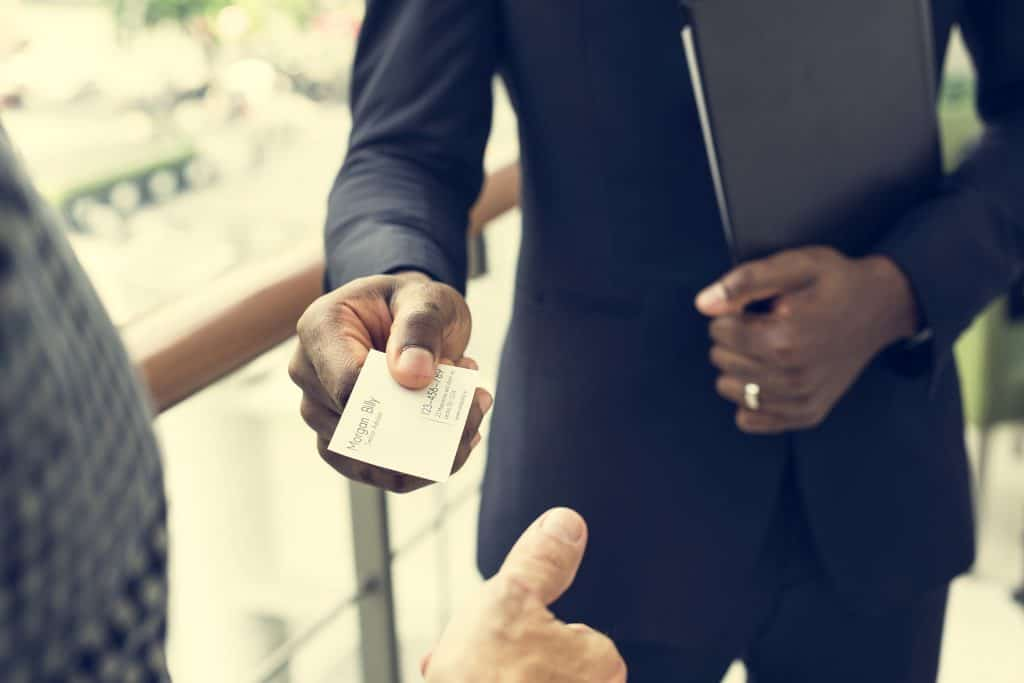 Businessman sharing business card